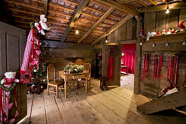 Interior of a hut, Christmas motif