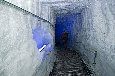 Tunnel through a glacier, Gletscherpalast at Kleines Matterhorn (3883 m), Zermatt, Wallis, Valais, Switzerland