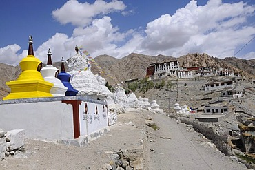 Phiyang Monastery and town with Buddhist stupas or chorten in the foreground, Ladakh, India, Himalayas, Asia