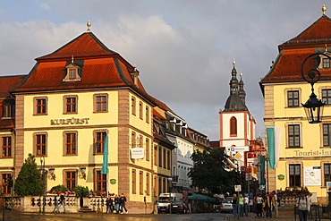Friedrichstrasse with the town parish church in the centre of Fulda, Rhoen, Hesse, Germany, Europe