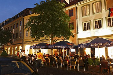 Street cafe in Friedrichstrasse, Fulda town centre, Rhoen, Hesse, Germany, Europe