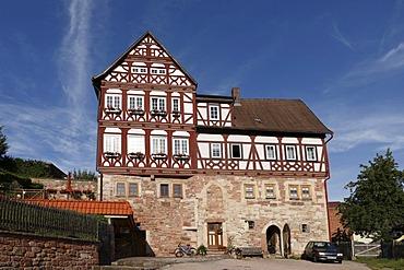 Maienhof, half-timbered building in Wasungen, Rhoen, Thuringia, Germany, Europe