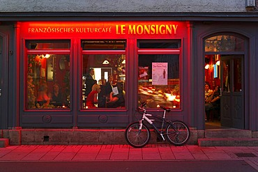 Le Monsigny french culture cafe, Meiningen, Rhoen, Thuringia, Gerrmany, Europe