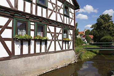 Half-timbered house in Kaltensundheim, Rhoen, Thuringia, Germany, Europe