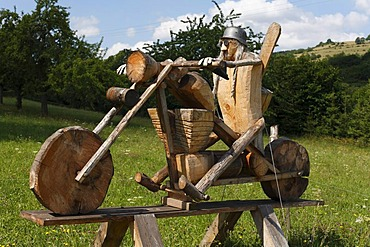 Chopper motorbike, artwork made out of wood, in the woodcarving town of Empfertshausen, Rhoen, Thuringia, Germany, Europe