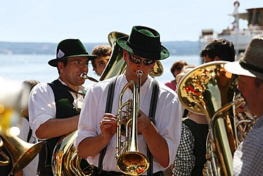 Brass band from Zorneding in Herrsching on Lake Ammersee, Fuenfseenland, Upper Bavaria, Germany, Europe