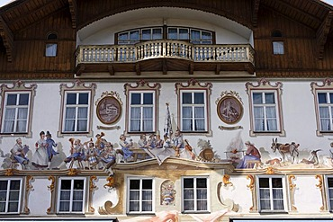 Wall paintings on the birth house of Ludwig Thoma in Oberammergau, Upper Bavaria, Germany, Europe