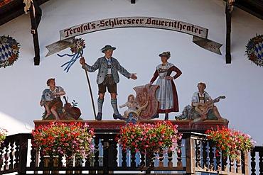"Lueftlmalerei, wall-painting, ""Terofal Schliersee farmers theatre"", Schliersee, Upper Bavaria, Bavaria, Germany, Europe"