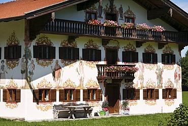 """Jodlbauer"", historic farmhouse with Lueftlmalerei, wall-paintings, by Johann Baptist Poeheim, 1786, in Hagnberg, Fischbachau municipality, Upper Bavaria, Bavaria, Germany, Europe"