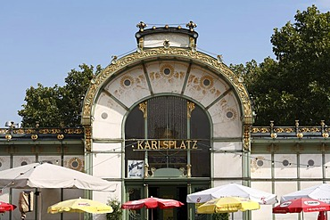 Stadtbahn-Pavillon, Otto Wagner art nouveau premetro station, Vienna, Austria, Europe