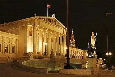 Parliament, Rossebaendiger, Pallas Athene and in the background City Hall, Vienna, Austria, Europe