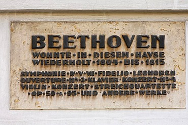 Sign on the Pasqualati-House, Beethoven House, Vienna, Austria, Europe