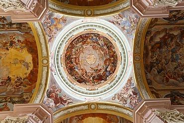 Dome with ceiling fresco, Stiftskirche Poellau, Collegiate Church, Styria, Austria, Europe