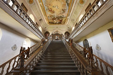 Holy staircase in Kreuzkirche Church, Bad Toelz, Isarwinkel, Upper Bavaria, Germany, Europe