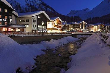 Winter evening in Lech, Vorarlberg, Austria, Europe
