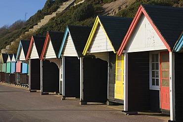 Beach huts in winter, Bournemouth, Dorset, England, United Kingdom