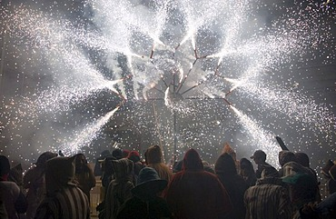 Fireworks during the Correfoc or Fire Run in Altea, Costa Blanca, Spain, Europe