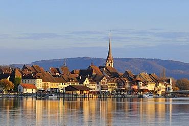 Historic city of Stein on the Rhine River, evening light, Canton of Schaffenhausen, Switherland, Europe