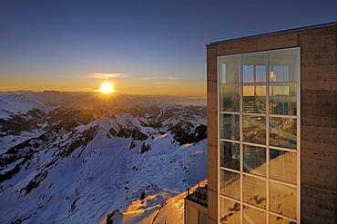 Staircase of the panorama restaurant on the summit of Mt Saentis, Canton of Appenzell Innerrhoden, Switzerland, Europe