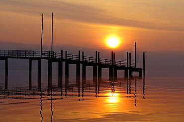 Morning mood with sunset at the wharf of Constance, County of Constance, Baden-Wuerttemberg, Germany, Europe