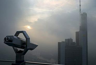 Frankfurt skyline with bank buildings in the fog, Frankfurt, Germany, Europe