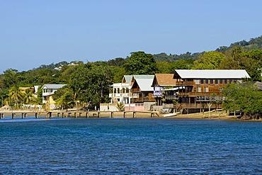 Wooden houses on the coast of Roatan, Honduras, Central America