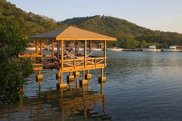 Hut on water, Hotel Anthony's Key Resort, Roatan, Honduras, Central America