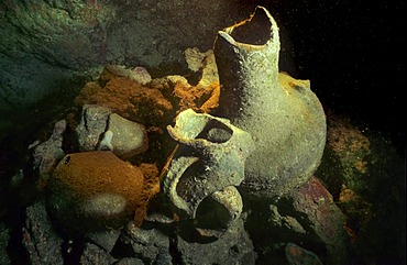 Broken amphoras in an underwater cave, Mediterranean Sea, Turkey