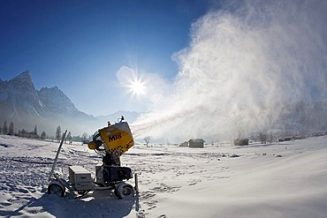 A snow cannon in front of the Zugspitze panorama, Ehrwald, Leermoos, Tirol, Austria, Europe