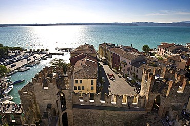 Harbour and historic centre next to the Scaligero Castle, Sirmione, Lake Garda, Lago di Garda, Lombardy, Italy, Europe