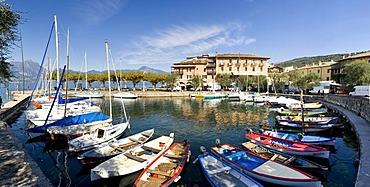 Panoramic view of harbor in Torri del Benaca on Lake Garda, Lago di Garda, Lombardy, Italy, Europe