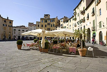 Restaurant on the Piazza del Anfiteatro Square, Piazza Mercato Square, Amphitheatre, Lucca, Tuscany, Italy, Europe
