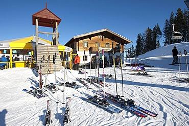 Skiers leaving their ski equipment outside for Apres-ski, after skiing, on Grubigalm mountain, Lermoos, Tyrol, Austria, Europe