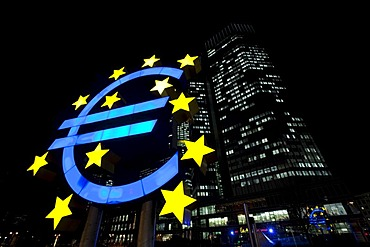 Euro symbol at night, in front of the EZB, ECB, European Central Bank, Frankfurt, Hesse, Germany, Europe