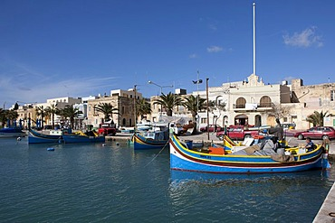 Traditional Maltese fishing boat, called Luzzu, port of Marsaxlokk, Malta, Europe