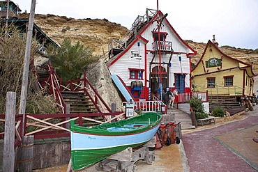 Popeye Village in Anchor Bay, film scenery for the Popeye film by Robert Altmann, Melliaha, Malta, Europe