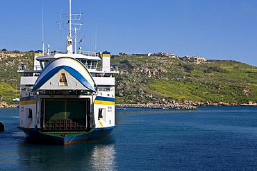 Ferry from Malta docking in the Mgarr port of Gozo, Mgarr, Gozo, Malta, Europe