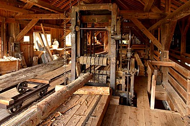 Old sawmill about 1900, Eco-Museum, Ungersheim, Alsace, France, Europe