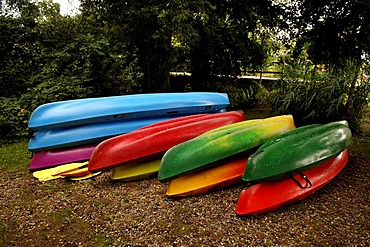Stacks of colourful paddleboats, Illhaeusern, Alsace, France, Europe