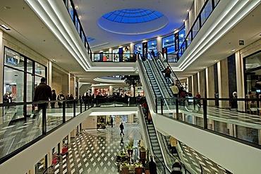 Modern downtown shopping mall, Muenster, Westphalia, Germany, Europe