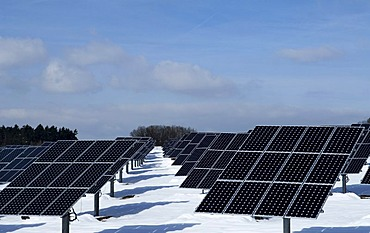 Big Photovoltaic system, solar plant, in snow, Oberruesselbach, Middle Franconia, Bavaria, Germany, Europe
