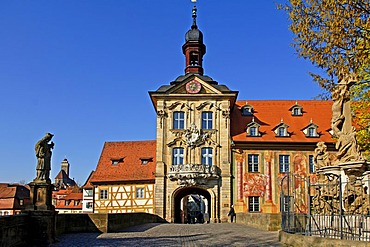Old Town Hall with the Obere Bruecke Bridge, Bamberg, Upper Franconia, Bavaria, Germany, Europe
