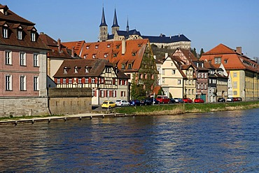 So-called little Venice with Regnitz River in front of Michaelskirche, St. Michael's Church, Bamberg, Upper Franconia, Bavaria, Germany, Europe