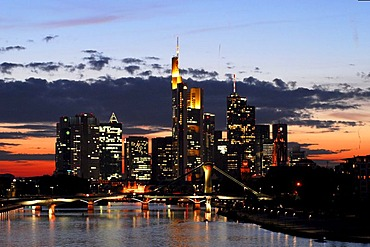 Skyline just after sunset with offices and high rise in the banking district, Frankfurt am Main, Hessen, Germany, Europe