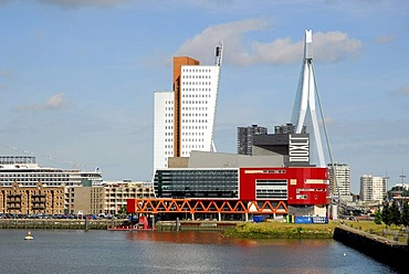 Modern architecture by the waterside: the red Luxor theatre, to the left of it the Belvedere building of the telephone company KPN Telecom and behind it the Erasmusbrug bridge, Wilhelminapier, Wilhelminaplein, Rijnhaven, Rotterdam, South Holland, the Neth