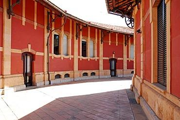 S'Escorxador Municipal, the former slaughterhouse with a red facade is today a cultural centre, Palma de Mallorca, Majorca, Balearic Islands, Spain, Europe