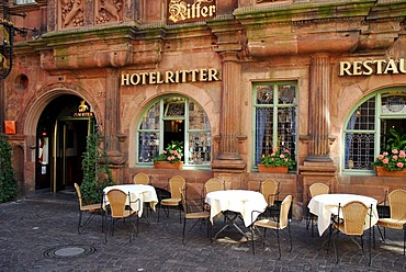 Ritter Restaurant Hotel, Haus zum Ritter St. Georg, facade and terrace, historic center, Heidelberg, Neckar Valley, Baden-Wuerttemberg, Germany, Europe