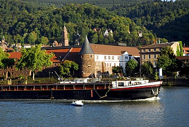 Inland navigation, riverside with view of the Marstall Mensa in the old city, Neckar River, Heidelberg, Neckar Valley, Baden-Wuerttemberg, Germany, Europe