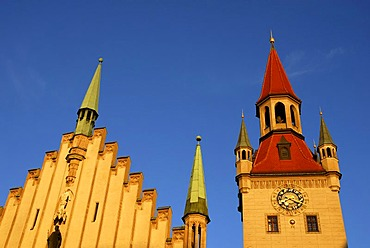 Reconstructed tower of the old Town Hall, now housing the Museum for Toys, Marienplatz, Mary's Square, historic city centre of Munich, Upper Bavaria, Bavaria, Germany, Europe