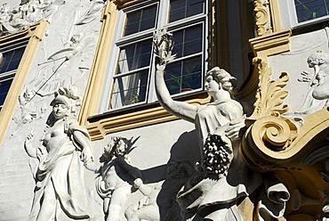 Female figure, rococo facade of the Asamkirche Church, St John of Nepomuk, Sendlinger street, Munich, Upper Bavaria, Germany, Europe